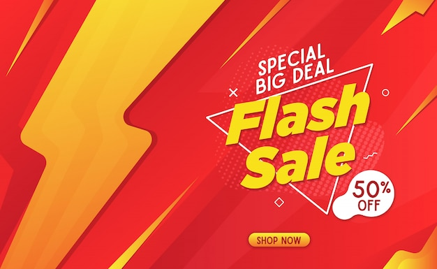 Flash sale banner template red