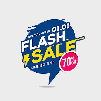 Flash sale banner template special offer with thunder