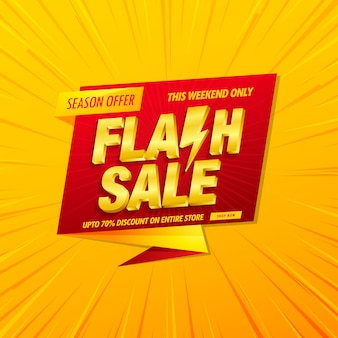 Flash sale banner  template with 3d  text on yellow