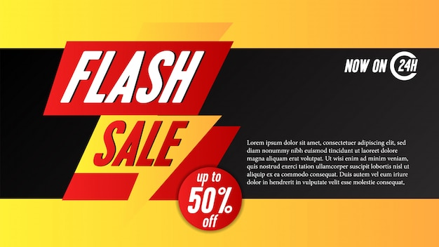 Flash sale banner template with thunder