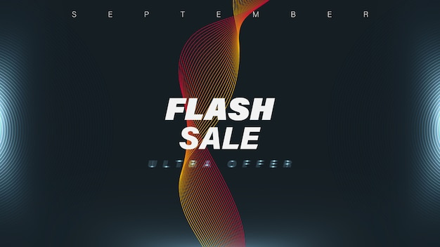 Flash sale banner template with waves and lights