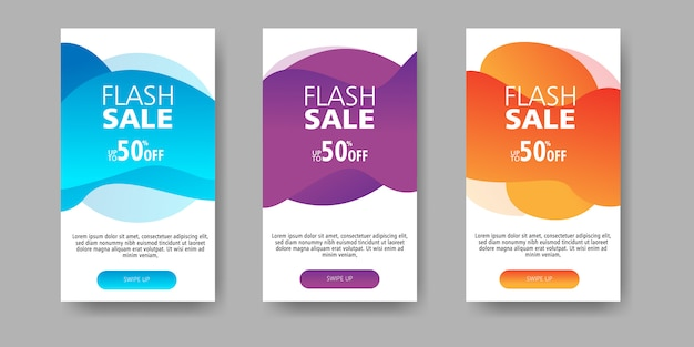 Flash sale banner up to 50% off with shape fluid gradient