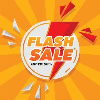 Flash sale banner with flat style