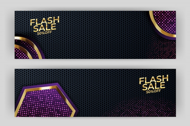 Flash sale banner with gold background style premium party