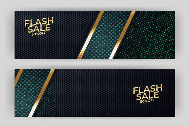Flash sale banner with gold background style premium