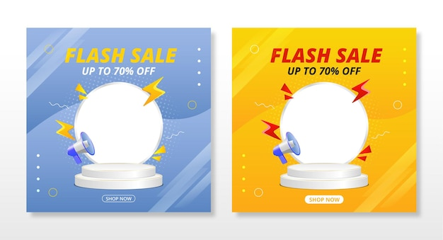 Flash sale banner with podium template design