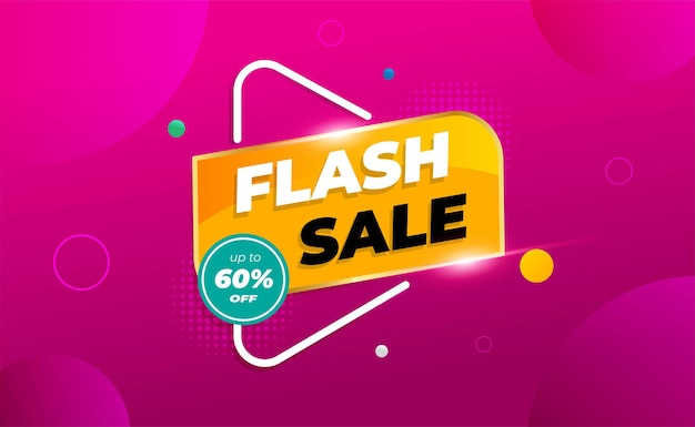 Flash sale banner with shapes