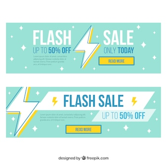 Flash sale banners in flat style