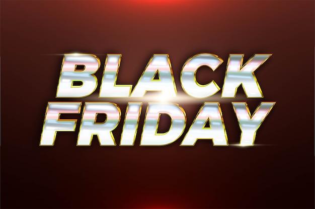 Флэш-распродажа черная пятница с эффектом металлической серебряной золотой цветовой концепции