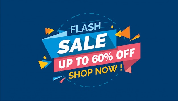 Flash sale, colorful sale banner