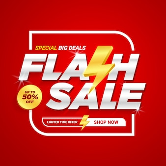 Flash sale discount banner template promotion.