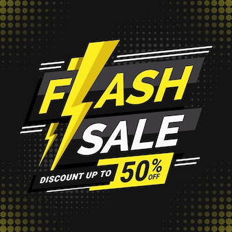 Flash sale discount banner template with lightning illustration perfect for boost your product promotion sales