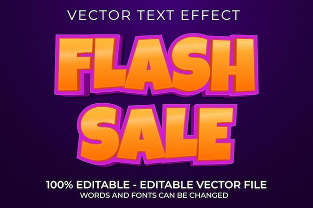 Флэш-распродажа редактируемый текстовый эффект 3d