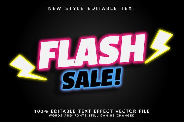 Flash sale editable text effect emboss neon style
