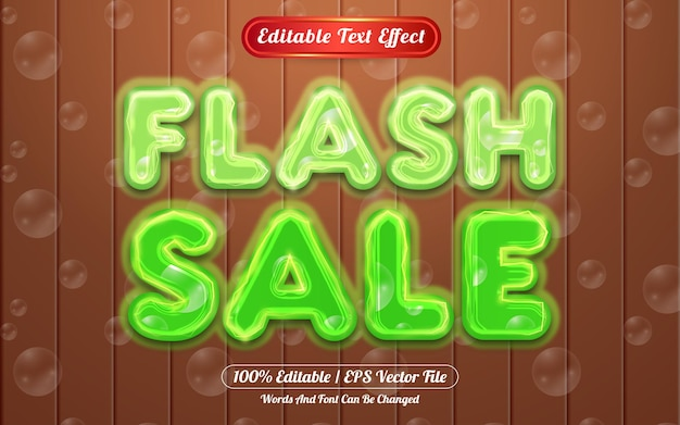 Flash sale editable text effect light and bubble themed