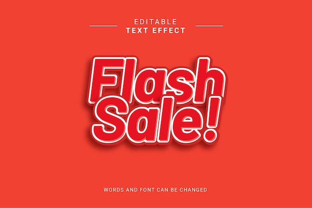 Flash sale editable text effect. red bold color.
