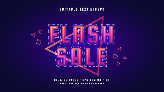 네온 스타일 및 라인 아트 벡터 템플릿이 있는 플래시 판매 편집 가능한 텍스트 효과