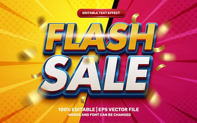 Flash sale hero cartoon comic 3d editable text effect with gold flying ribbon out of focus