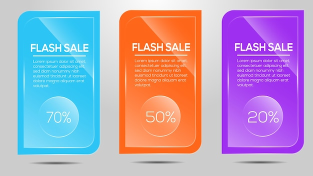 Flash sale icon with glass effect