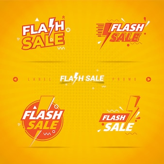 Flash sale label on collection set