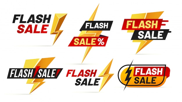 Flash sale. mega sales lightning badges, best deal lightnings poster and buy only today offer badge illustration set
