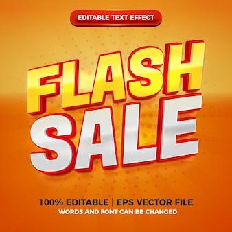 플래시 판매 현대 빨간색 노란색 3d 편집 가능한 텍스트 효과