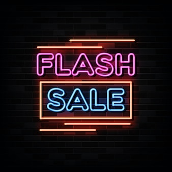 Flash sale neon signs on black wall