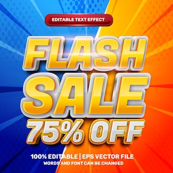 Flash sale off modern 3d editable text effect with halftone background