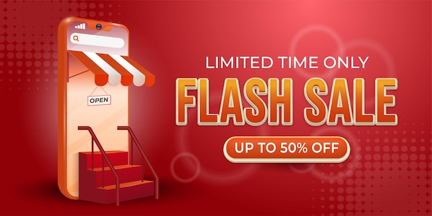 Flash sale online shopping day banner template