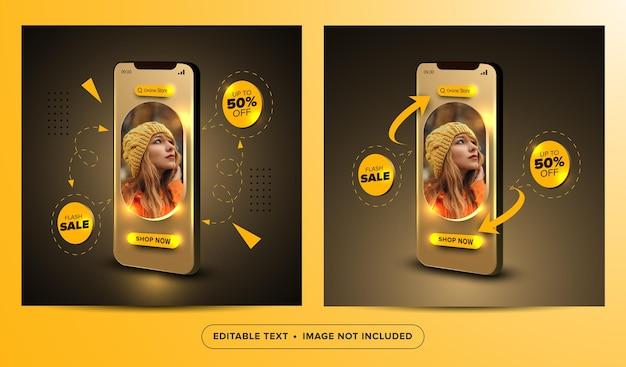 Flash sale online shopping social media post banner concept