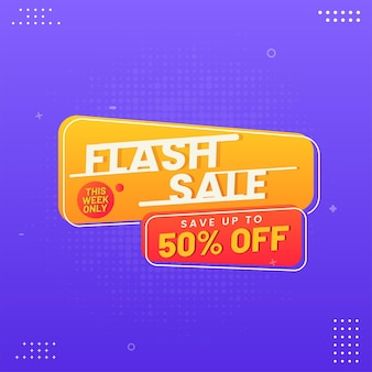 Flash sale poster design with 50% discount offer on purple halftone background.