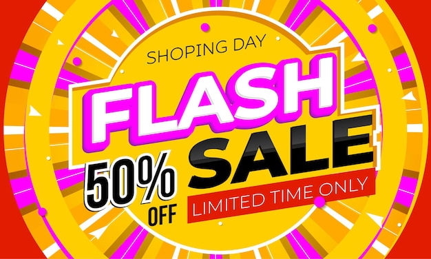 Flash sale promotional poster mockup with time limited offer. trendy advertising banner promoting special discount with price cut in half for online shopping marketplace vector illustration