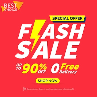 Flash sale shopping poster or banner with flash icon on red backgroundflash sales banner template