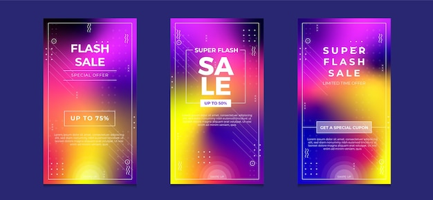 Flash sale social media instagram stories banner with gradient color