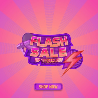 Flash sale social media template promotion with text place and sunburst pattern background