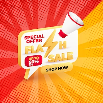 Flash sale special offer discount banner template promotion.