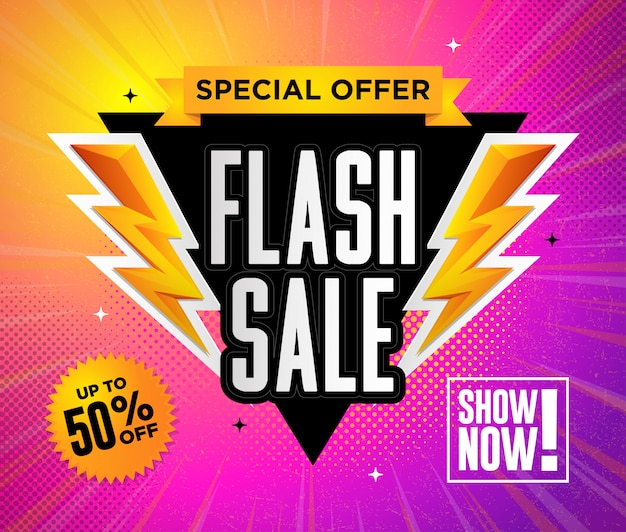 Flash sale special offer square design   illustration