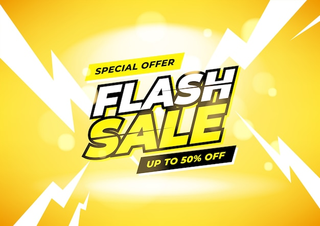 Flash sale special offer up to 50% off banner.