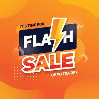 Flash sale square banner with thunder shape