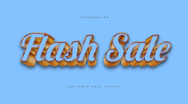Flash sale text in blue and gold style with 3d effect