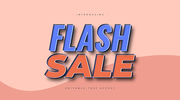 Flash sale text in blue and orange with vintage style. editable text style effect