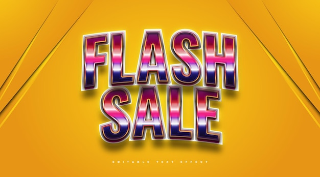 Flash sale text in colorful retro style and glossy effect. editable text style effect