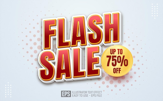 Flash sale text, editable illustrator text effect