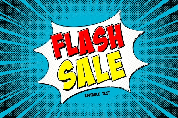 Flash sale text effect with comic style