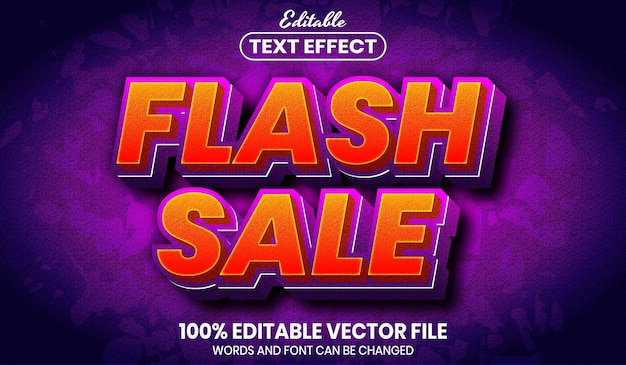Flash sale text, font style editable text effect