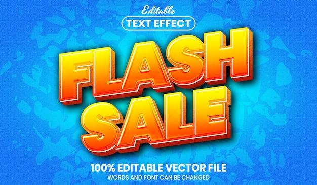Flash sale text, font style editable text effect Premium Vector