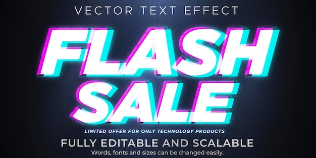 Flash sale text on glitch effect, editable discount and offer text style