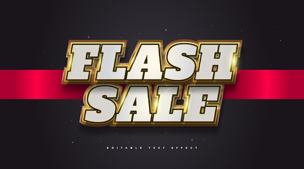 Flash sale text in white and gold with 3d embossed effect. editable text style effect