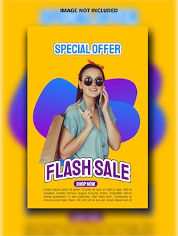 Флэш распродажа вертикальный дизайн плаката шаблон