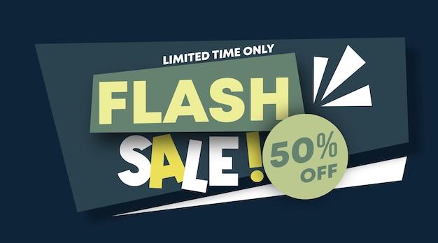 Вектор иллюстрации веб-баннера флэш-продажи. скидка 50% на фон
